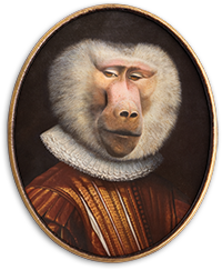 Painted Portrait of a monkey