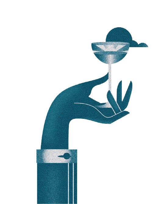 Illustration of a hand holding a cocktail