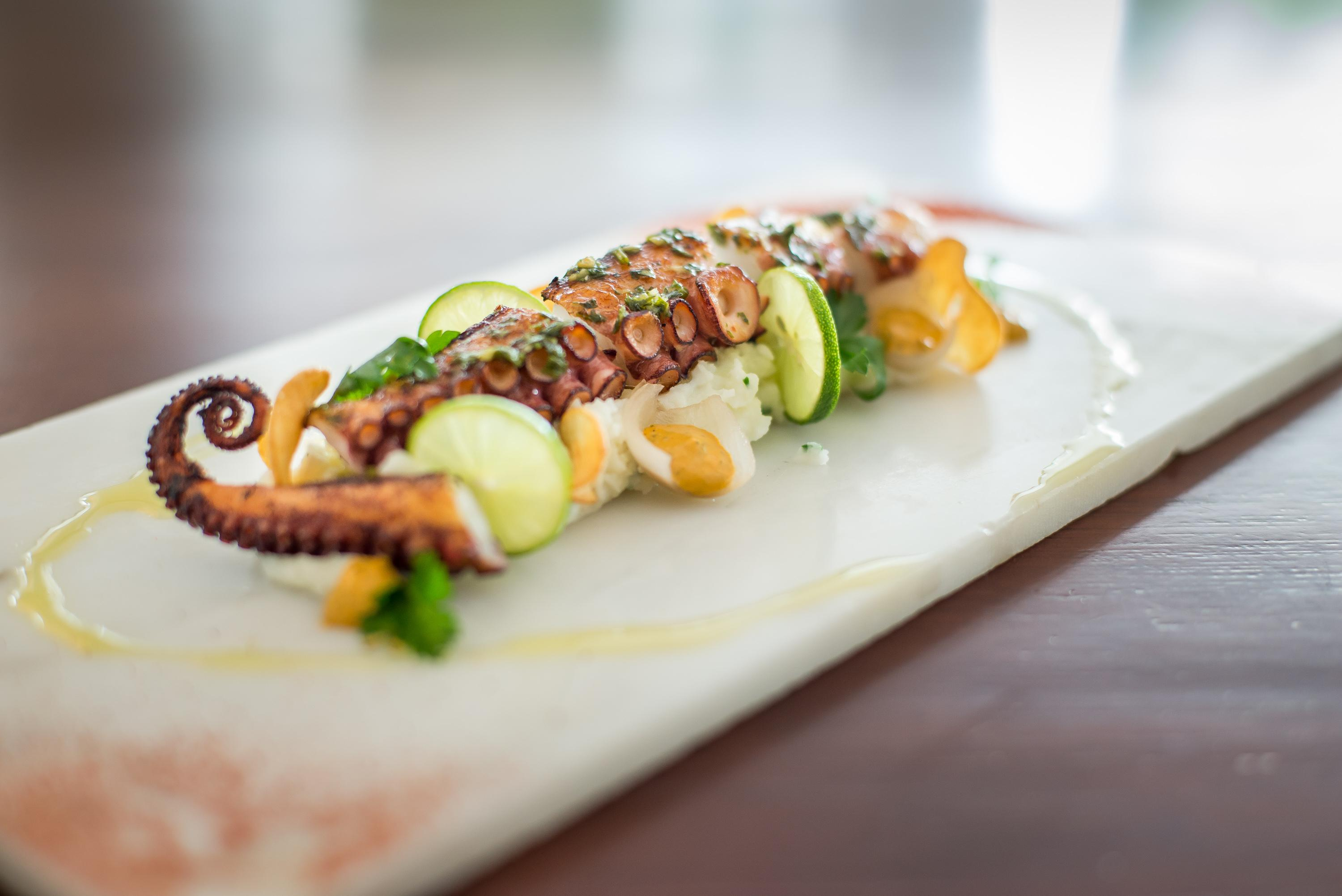 grilled octopus with cucumber