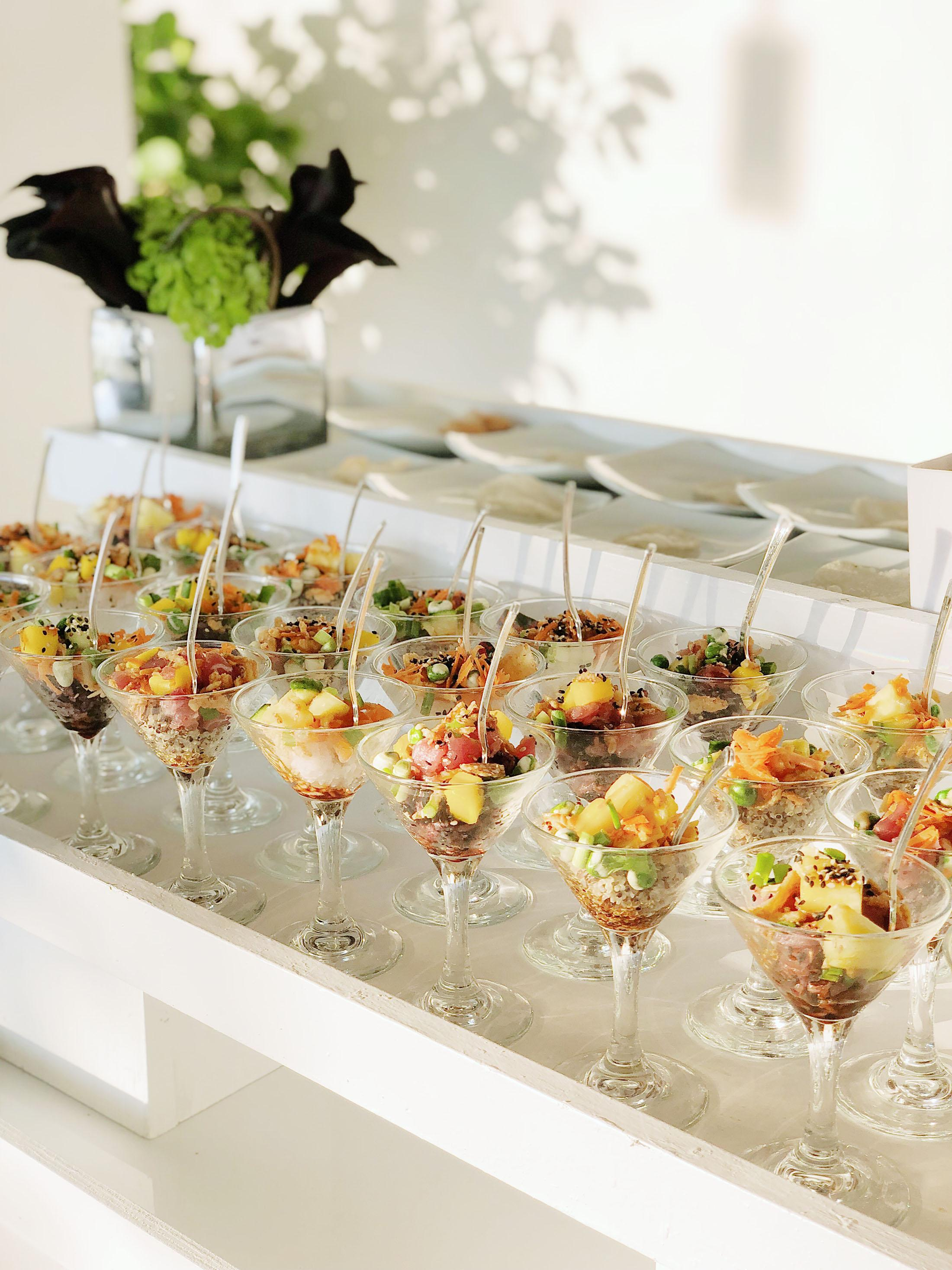 Martini glasses with food.
