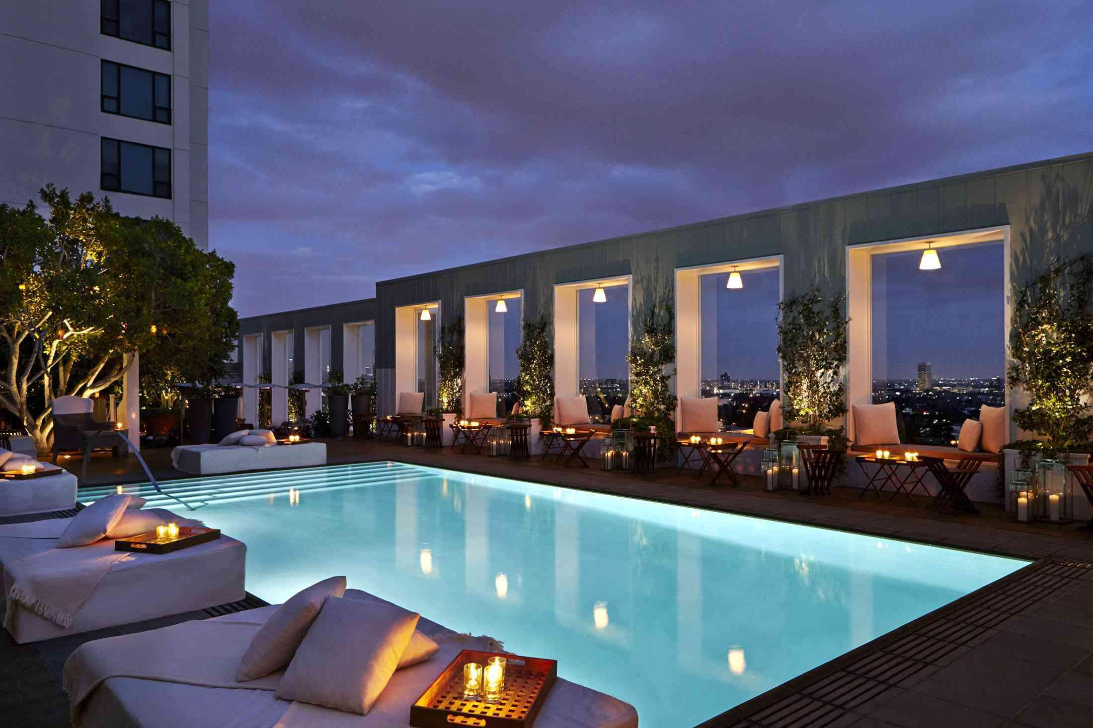 Skybar rooftop pool at night