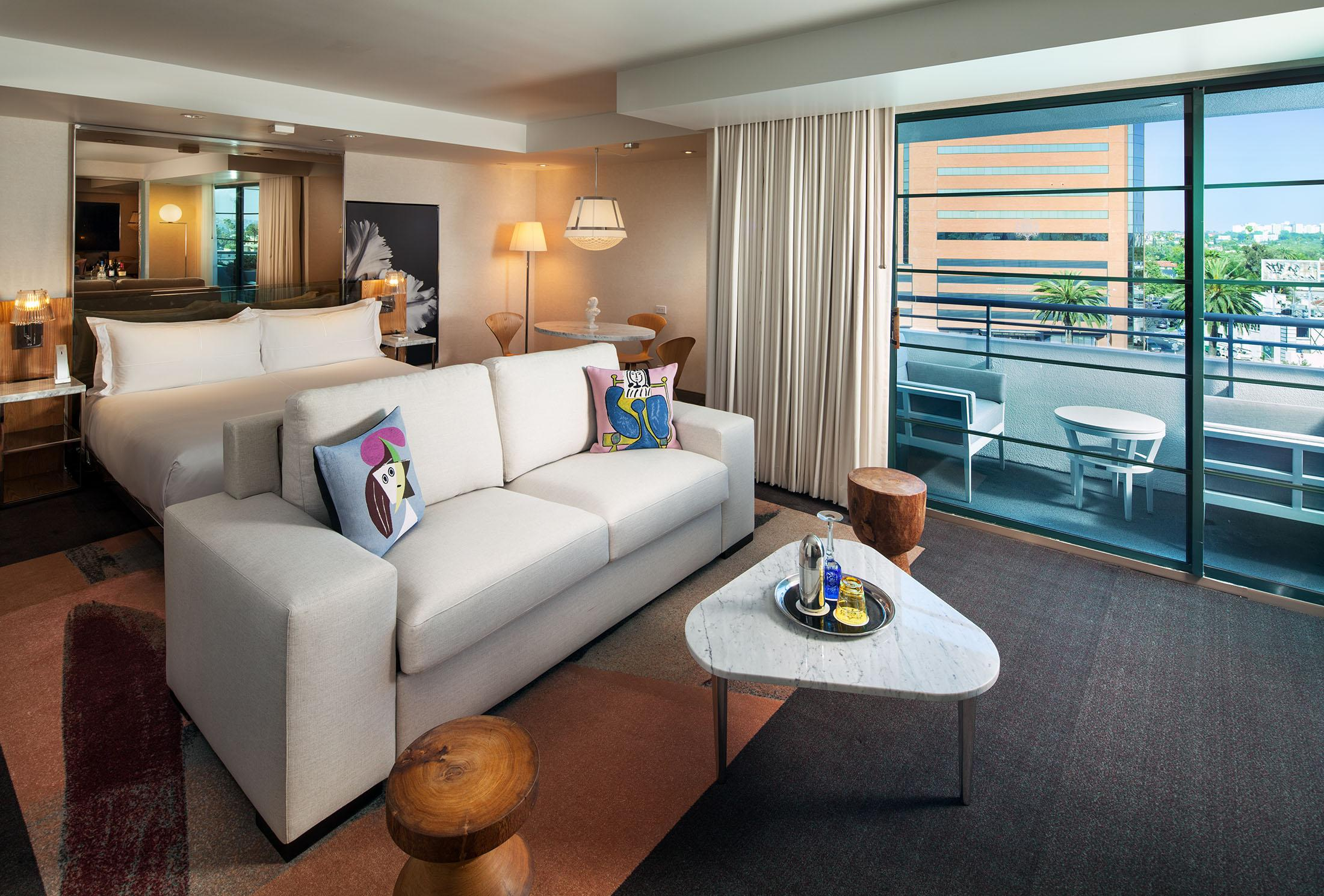 Beverly Hills balcony suite hotel room