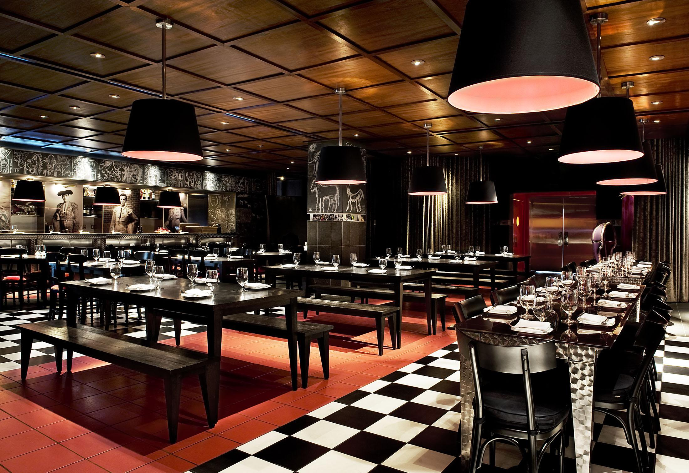 Restaurant with black and white checkered floor