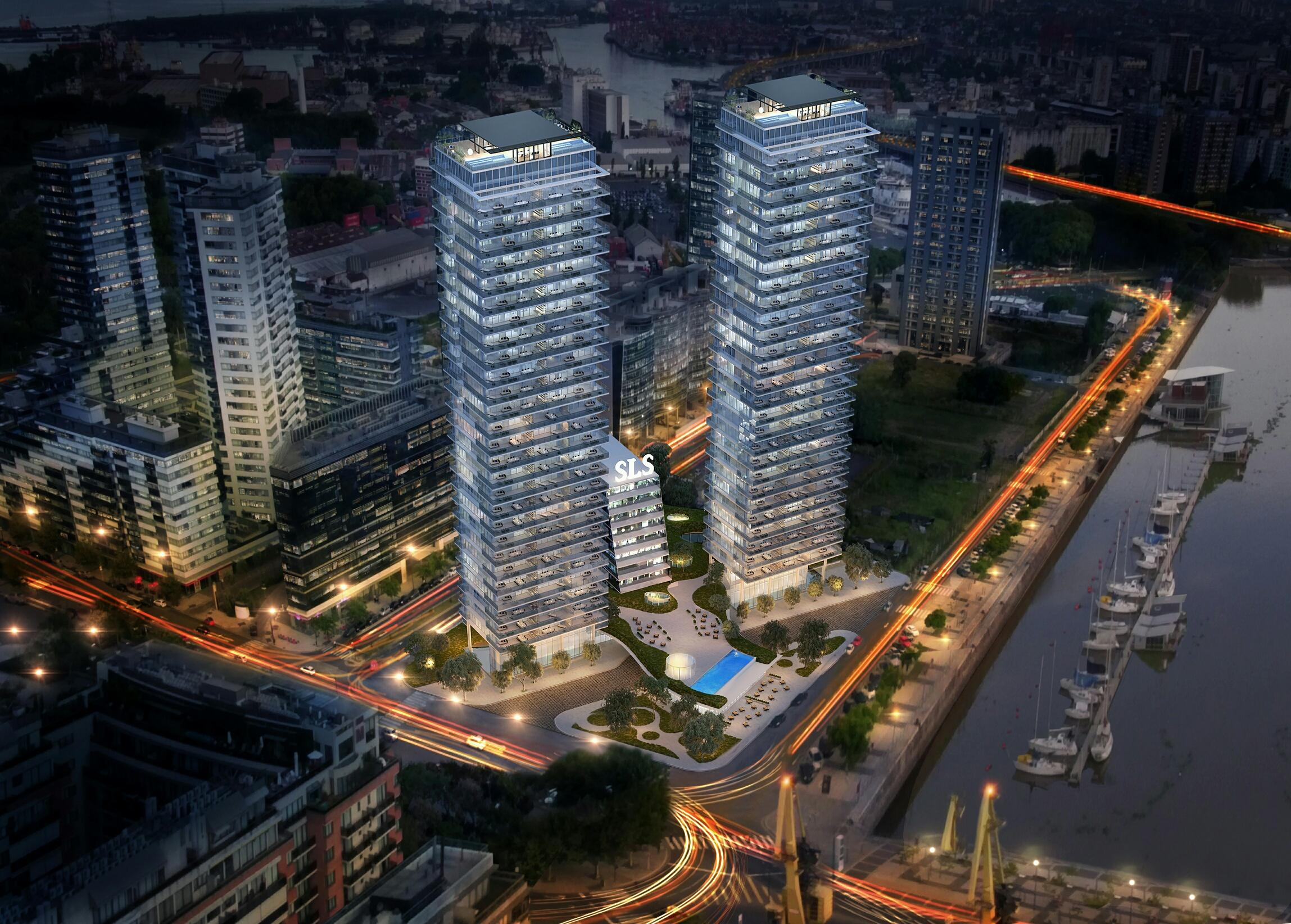 sls puerto madero night rendering