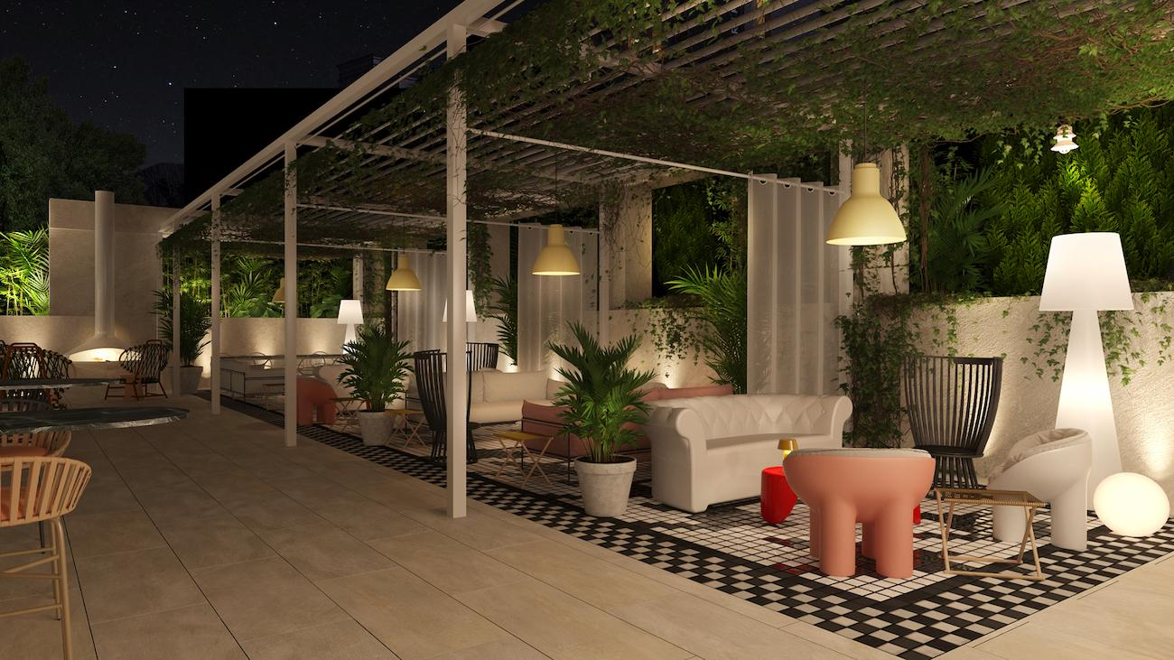 outdoor seating with couches and decorative plants