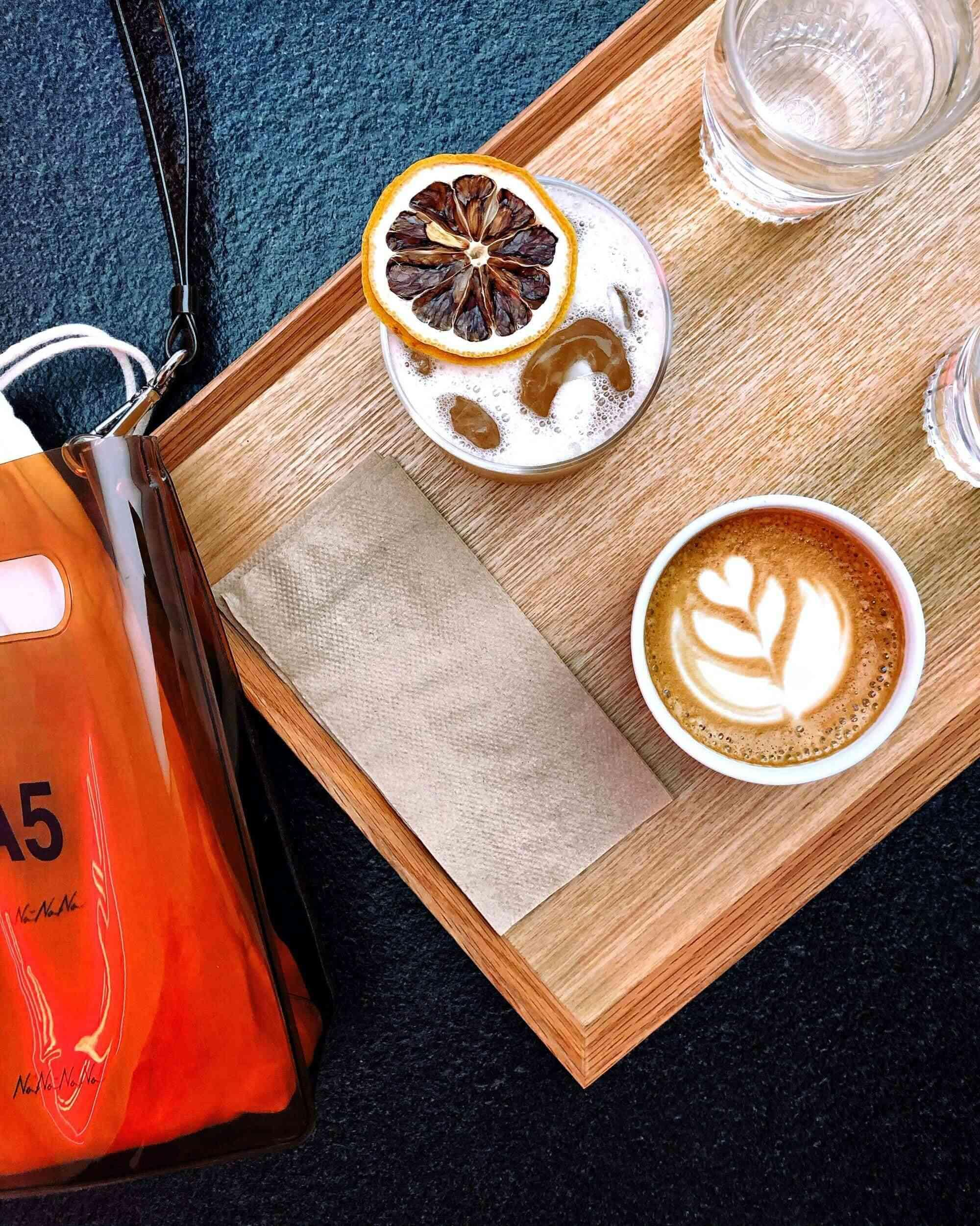 Cafe beverages on a tray