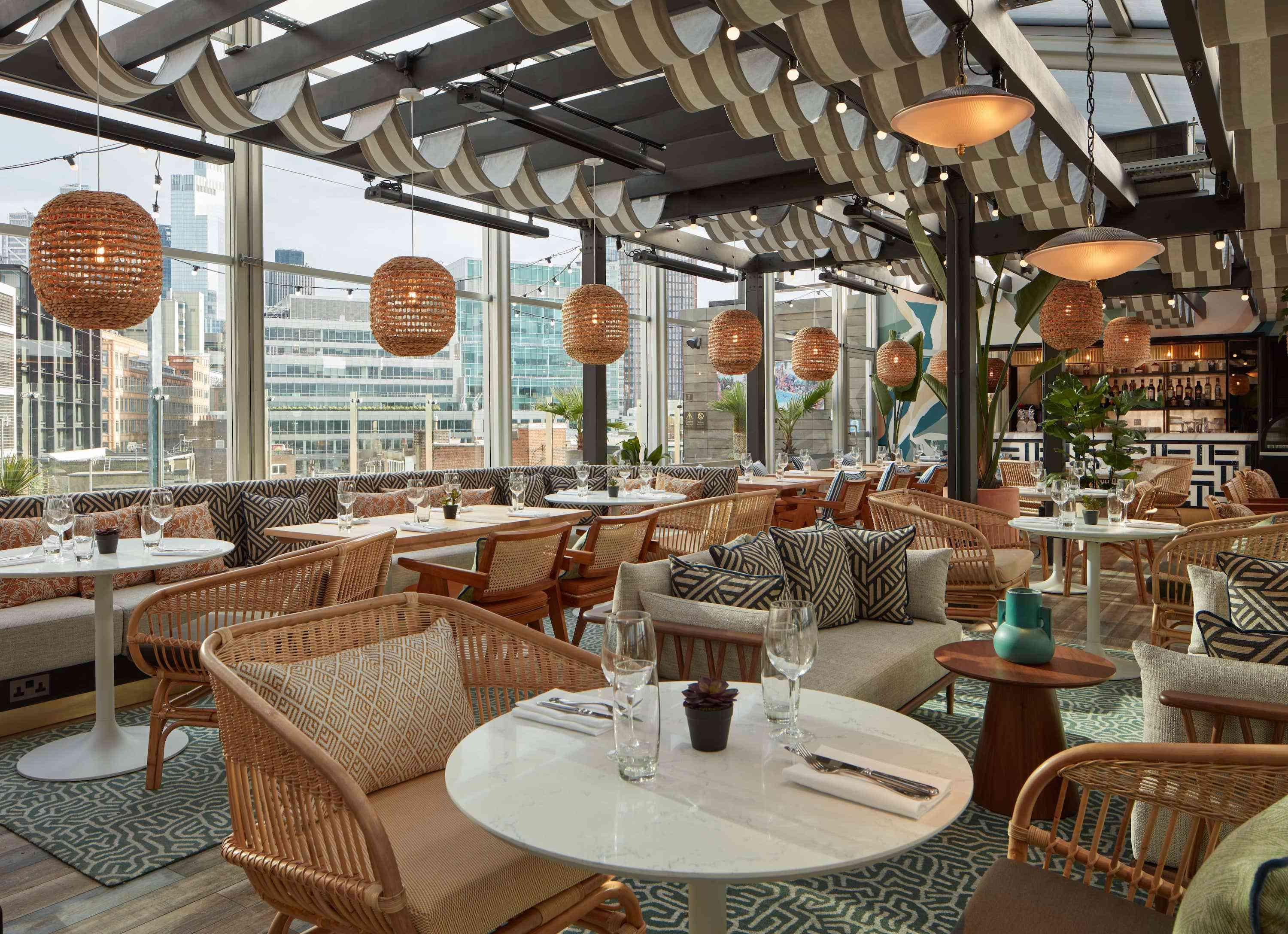 rooftop restaurant and lounge seating area