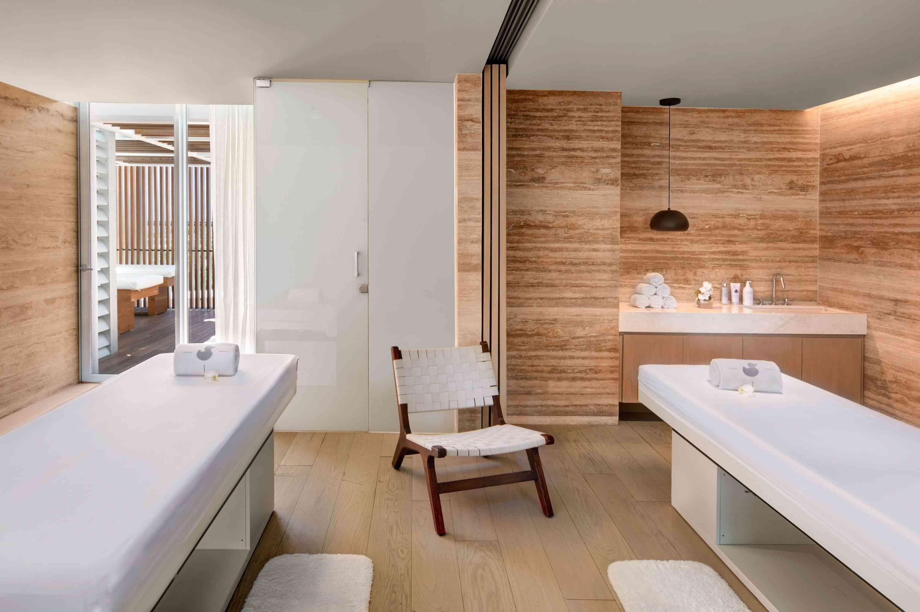 Room with two massage tables