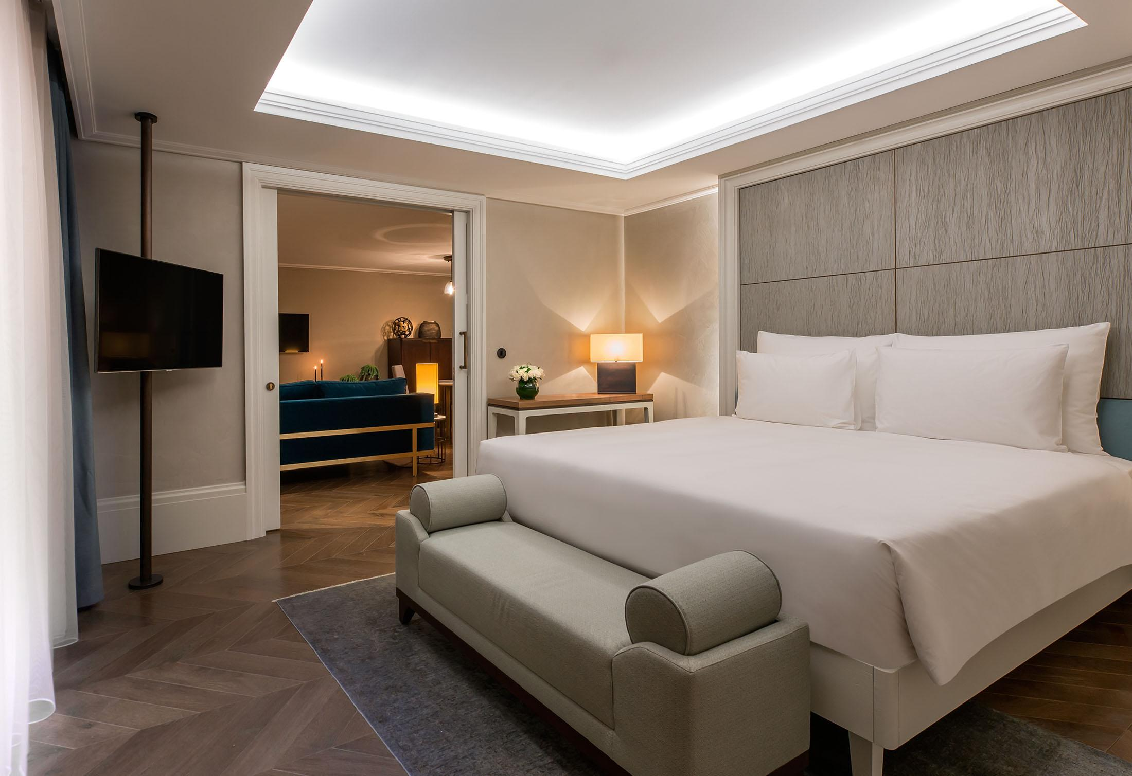 A modern and spacious hotel room