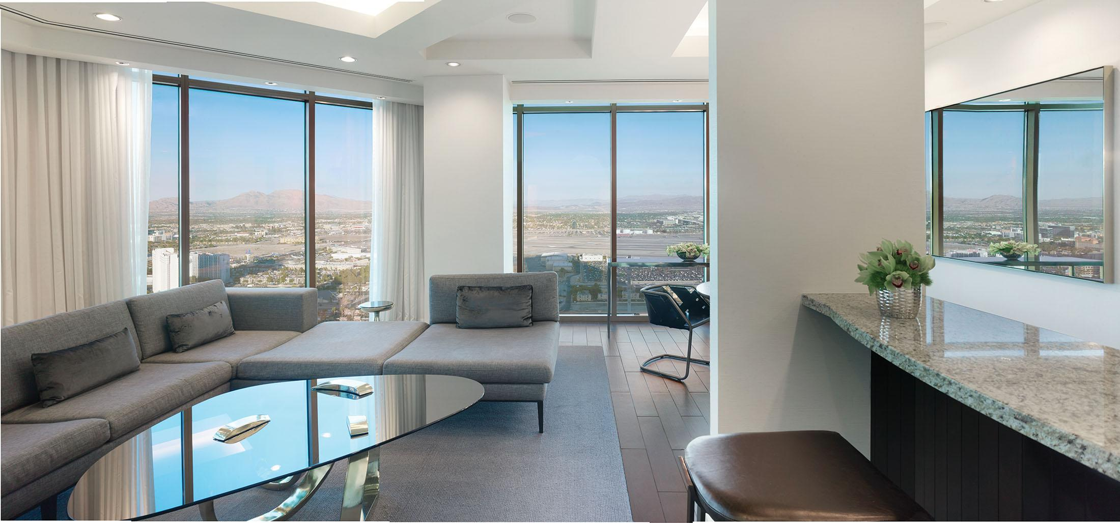 Living room and kitchen suite with panoramic views of Las Vegas