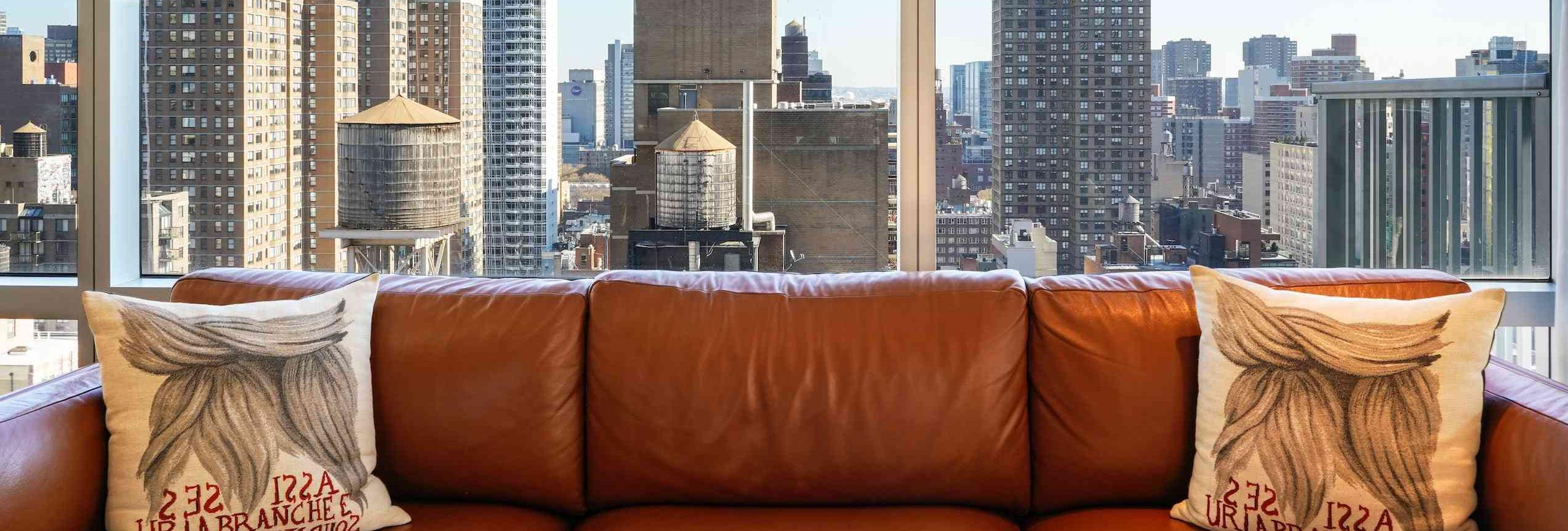 brown couch with city views