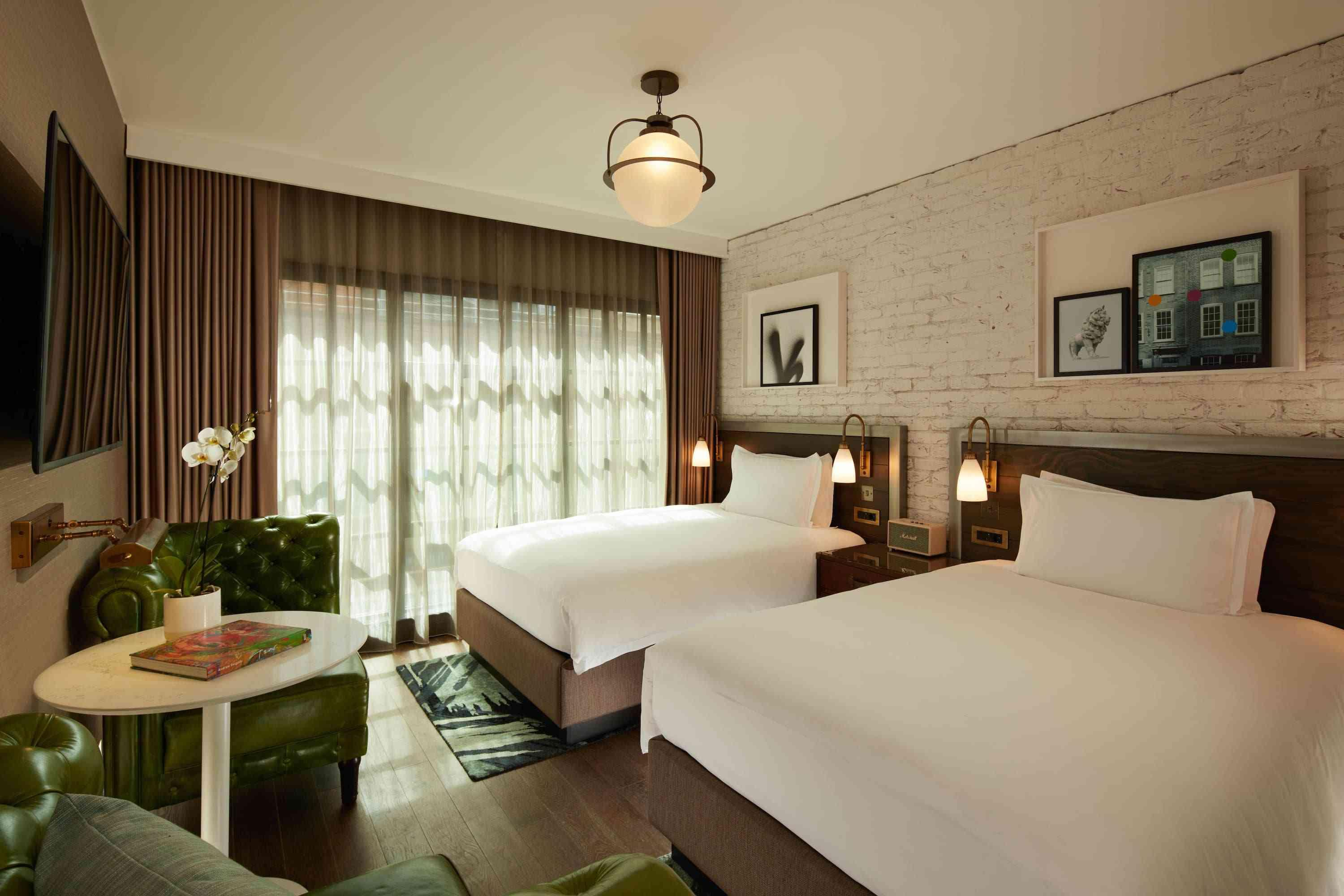 Two Twin Bed Hotel Room