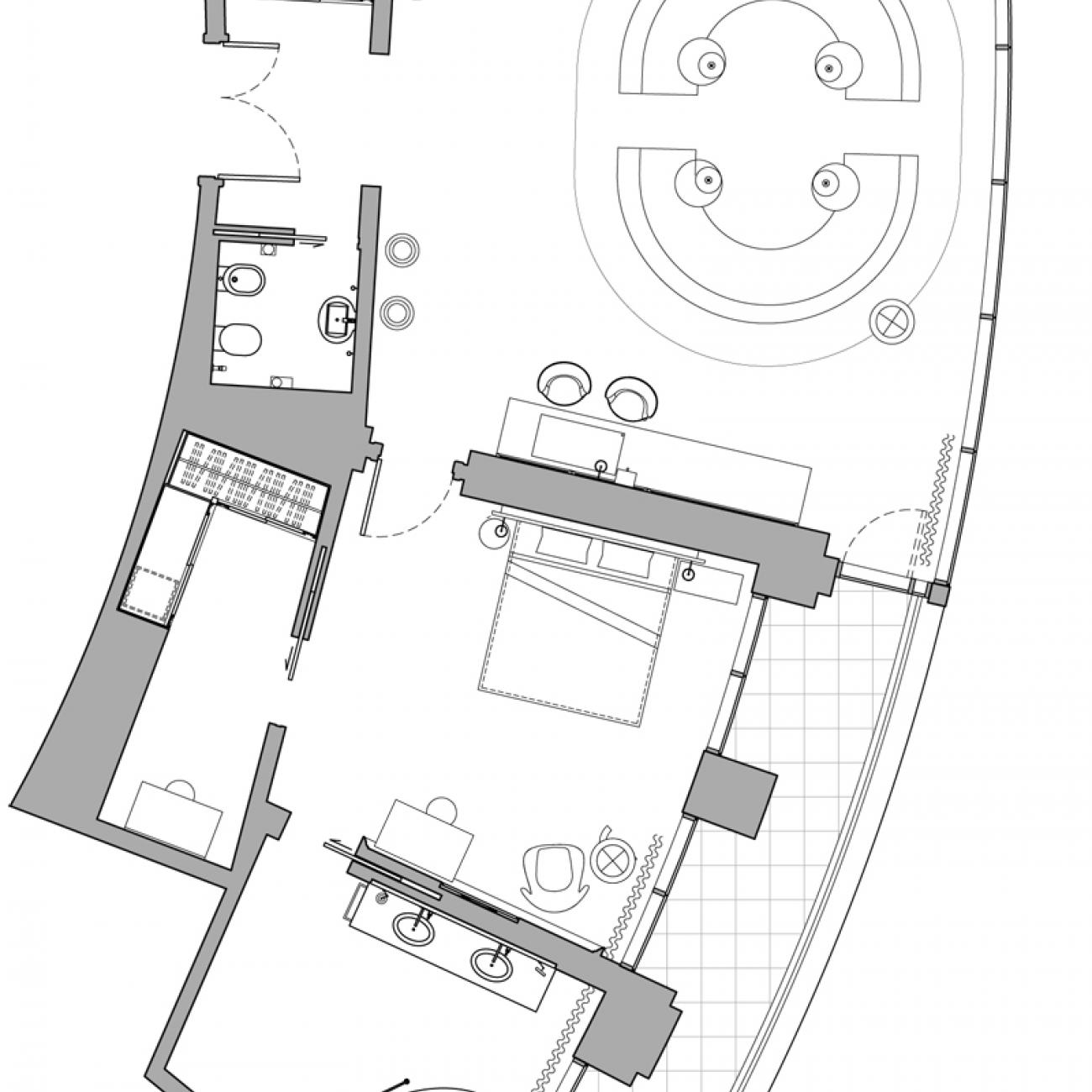 Deluxe Terrace Suite Floor Plan Mondrian Doha